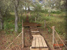 工事完了の木製歩道